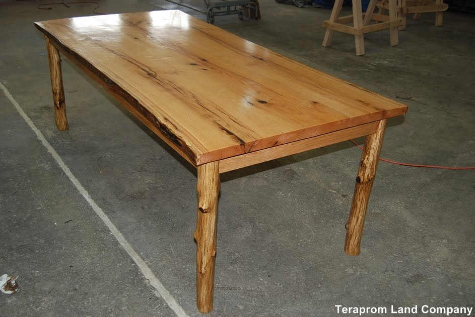 Marvelous Live edge Oak Dining Table with Sapling Pole Legs and Semi gloss Finish